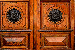 Detail of a medieval wooden door Stock Photography