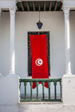 Detail of Medina in Sousse, Tunisia with flag Stock Photography
