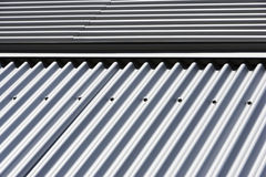 Detail of a metal clad building Stock Images