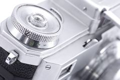 Detail of metal dial on vintage photo camera. With engraved numbers Stock Photography