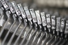 Detail of metal letters of an old typewriter Stock Image