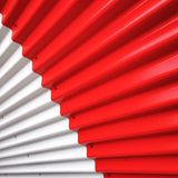 Detail of a metallic sheet in white and red Stock Photo