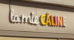 Detail of the Mie Caline brand on a summer day. Challans, France - August 11, 2016 : detail of the Mie Caline brand on a summer day, company of the French food stock images