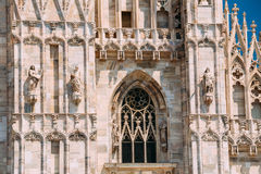 Detail of Milan Cathedral or Duomo di Milano in Milan, Italy. Close-up Stock Photos