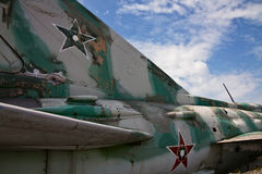 Detail of military aircraft closely obsolete Royalty Free Stock Photography