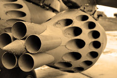 Detail of military aircraft. Sepia. Royalty Free Stock Image