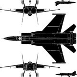 Detail Military Airplanes Base And Face Vector 01. High Detail Military Fighter Airplanes Base And Face Stock Image