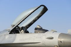 Detail of military fighter plane from the front side Royalty Free Stock Photos