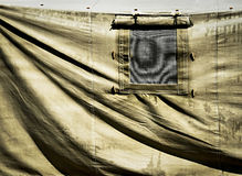 Detail of military tent with window Stock Images
