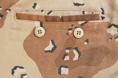Detail of military uniform, camouflage fabric Royalty Free Stock Images