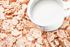 Detail of milk and corn flakes Stock Photography