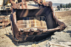 Detail mining big machines backhoe Royalty Free Stock Images