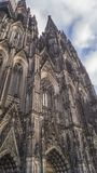 Detail of Minster in Strasbourg. Low angle shot of the front side of the Minster Cathedral in Strasbourg Royalty Free Stock Photo