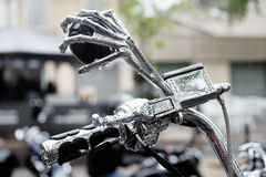 Detail of a mirror in the shape of a hand skeleton shopper. To a gathering of American motorcycles in Beaucaire stock images
