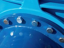 Detail of 500mm drink water joint unit with screws and nuts. Collar pipe fitting Stock Photos