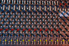 Detail of a mobile soundboard mixer Royalty Free Stock Images