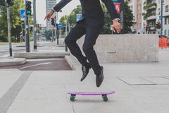 Detail of a model jumping with his skateboard Royalty Free Stock Photography