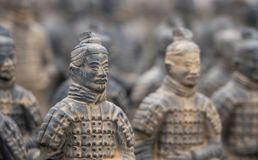 Terracotta Army warriors buried in Emperor tomb outside Xian China. Detail of a model of the pottery terracotta army warriors and soldiers found outside Xi`an royalty free stock photos