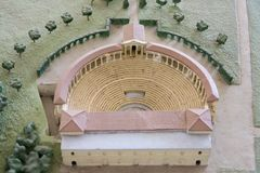 Detail of model replica of The Villa Adriana (at Tivoli, near Rome) an exceptional complex of classical buildings created in the 2 Stock Images