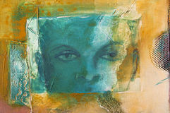 Detail of a modern abstract acrylic painting with a fictional face Stock Image
