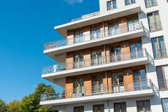 Detail of a modern apartment house Stock Photo