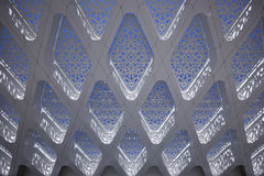 Detail of a modern arabic abstract building. In blue and white with floral pattern Stock Image