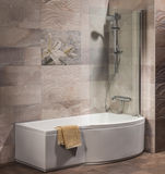 Detail of a modern bathroom. With bath and shower Stock Photo