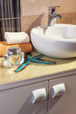Detail of modern bathroom in orange Royalty Free Stock Photos