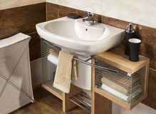 Detail of a modern bathroom with sink and accessories Stock Photos