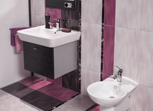 Detail of modern bathroom with sink and bidet Stock Image