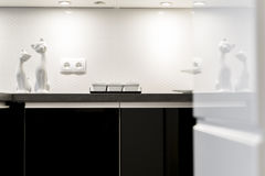 Detail of modern black and white kitchen Stock Photography