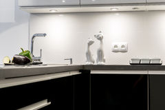 Detail of modern black and white kitchen Royalty Free Stock Photography