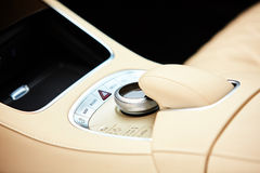 Detail of modern car interior, gear stick Royalty Free Stock Image