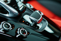 Detail of modern car interior, gear stick Royalty Free Stock Photo