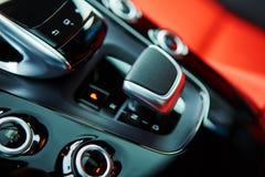 Detail of modern car interior, gear stick Royalty Free Stock Photos