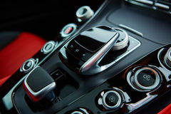 Detail of modern car interior, gear stick Stock Images
