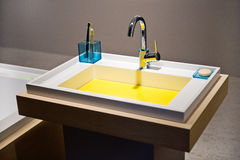 Detail of modern colored washbasin Royalty Free Stock Photos