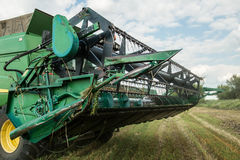Detail of a modern combine harvester closeup Stock Photo
