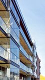 Detail of Modern glass architecture of residential building. And outdoor facilities Royalty Free Stock Photo