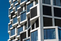 Detail of a modern high-rise apartment building Stock Photo