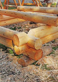 Detail of modern loghouse construction process. Stock Image