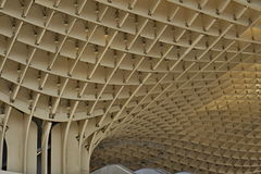 Detail of a modern roof of a contemporary building in Sevilla Spain made of wooden and iron boards as a symbol of futuristic arc. Detail of a modern roof of a Stock Photos