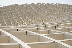 Detail of a modern roof of a contemporary building in Sevilla Spain made of wooden and iron boards as a symbol of futuristic arc. Detail of a modern roof of a Stock Images