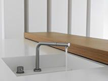 Detail of modern steel faucet Stock Photos