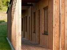 Detail of modern wooden house Stock Photos