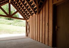 Detail of modern wooden house Royalty Free Stock Image