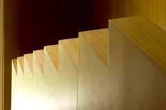 Detail of modern wooden stairs Royalty Free Stock Photo