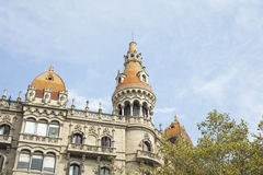 Detail of a modernist building near Catalonia Square in Barcelona, Spain Royalty Free Stock Photo