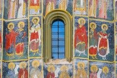 Detail of monastery church frescoes, Bukovina, Moldavia, Romania stock photography