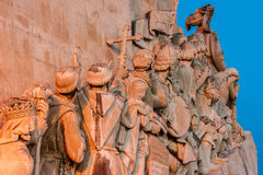 Detail of the monument of the discoveries in Lisbon, Portugal. Detail at sunset of the monument of the discoveries in the district of Belem in Lisbon, the Stock Photography